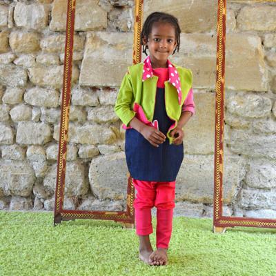 Small robe chasuble jean vert olive portee