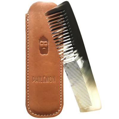 Small philemon 1889 peigne corne artisanal etui cuir homme barbe peau horn comb men beard hair moustache made in france