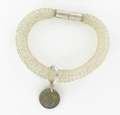 Small bracelet r sille et m daille chouette