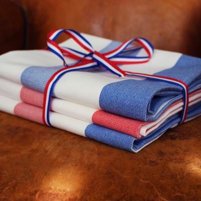Small lot de 3 serviettes de cuisinier a grandes rayures 50x70 100 coton