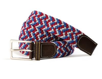 Small ceinture tressee bleu blanc rouge elastique b52