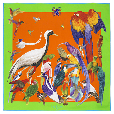 Small foulard oiseaux exotique fond orange bordure vert 600