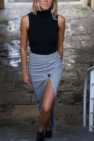Small jupe longue fendue pied de poule noire et blanche mood eh vetements personnalisables made in biarritz france 6