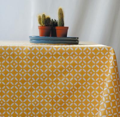 Small nappe enduite carreau de ciment jaune anti tache impremeable fleur de soleil